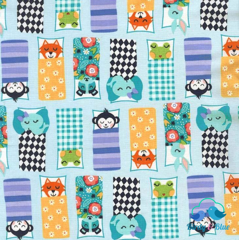 Happy Campers Blue (Road Trip Collection) Premium Cotton Fabric