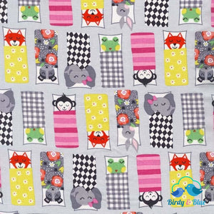 Happy Campers Pink (Road Trip Collection) Premium Cotton Fabric