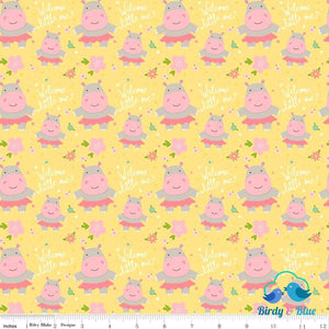 Hippos Yellow (Sweet Baby Girl Collection) Premium Cotton Fabric