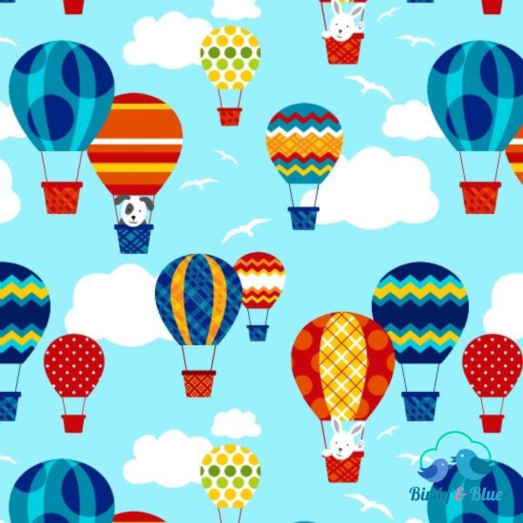 Hot Air Balloons Blue (Off We Go Collection) Premium Cotton Fabric