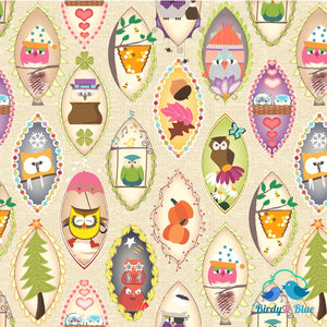 Owls In Frames (Aint Life A Hoot Collection) Premium Cotton Fabric