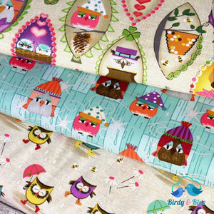 Owls In The Rain (Aint Life A Hoot Collection) Premium Cotton Fabric