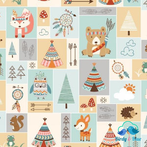 Patchwork Animals Cream (Camp-A-Long Critters Collection) Premium Cotton Fabric