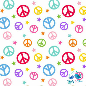 Peace Signs White (Emelias Dream Collection) Premium Cotton Fabric