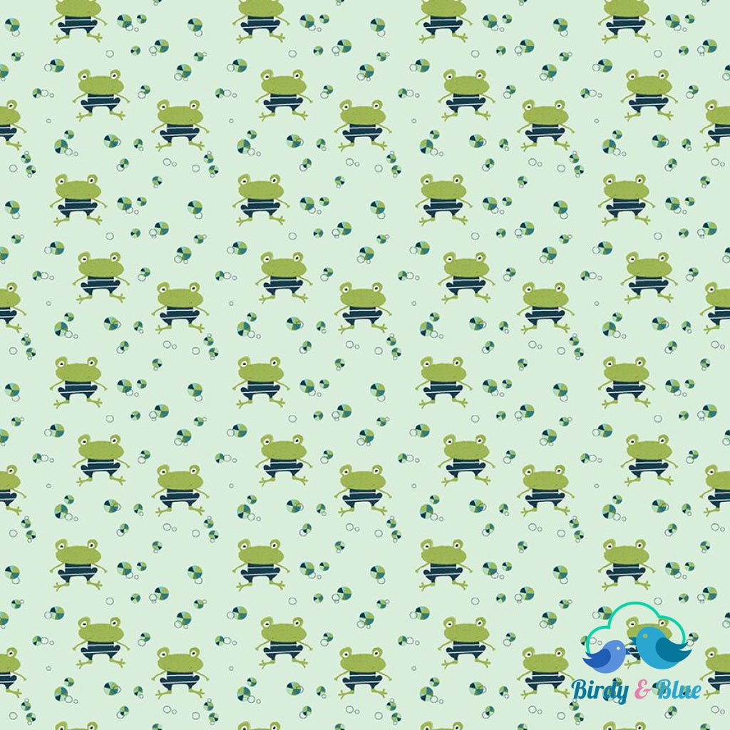 Pistachio Frogs (Ready Set Splash! Collection) Premium Cotton Fabric