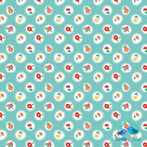 Posie Aqua (Hand Picked Collection) Premium Cotton Fabric