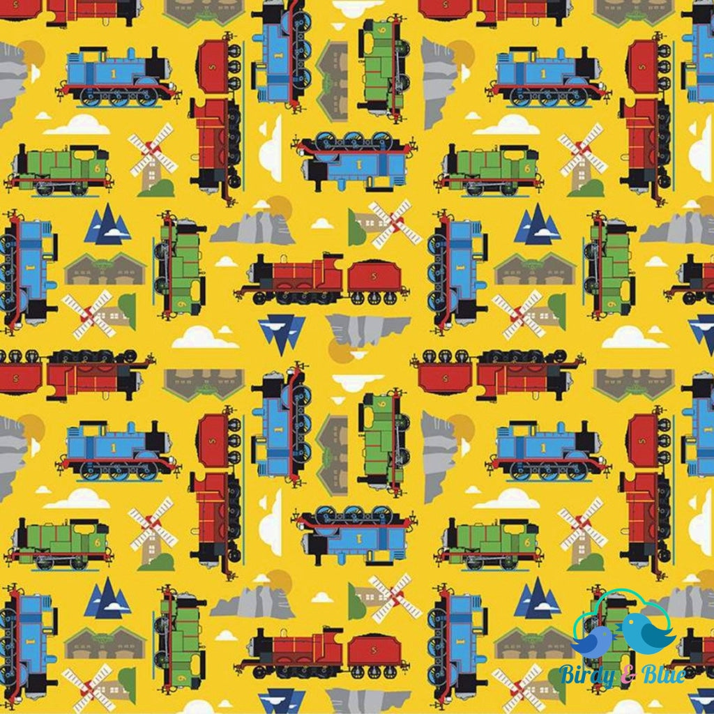 Sodor Yellow (All Aboard With Thomas & Friends Collection) Premium Cotton Fabric