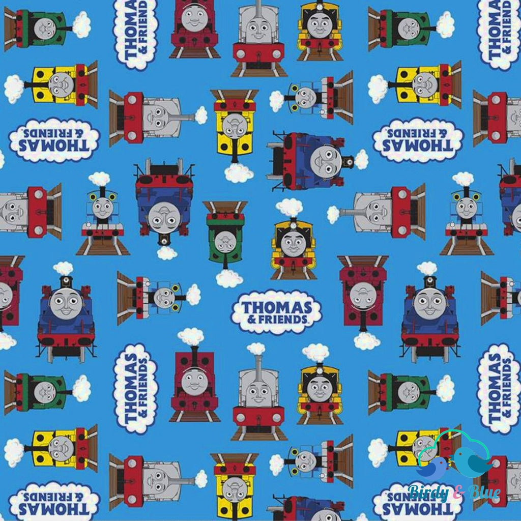 Thomas Friends Blue (All Aboard With & Collection) Premium Cotton Fabric