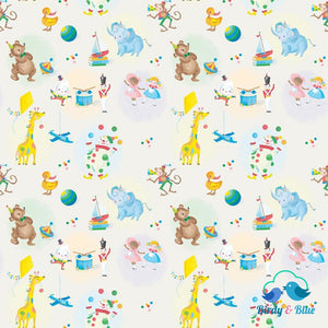 Toys Cream (The Little Engine That Could Collection) Premium Cotton Fabric