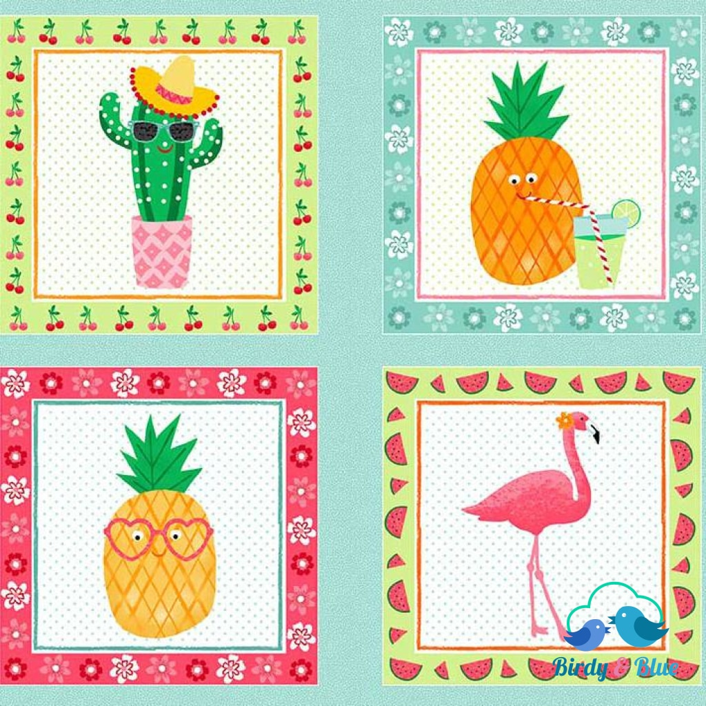 Tropical Squares Panel (Fruity Friends Collection) Premium Cotton Fabric