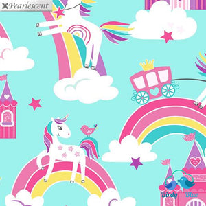 Unicorn Dreams Aqua (Unicorn Magic Collection) Premium Cotton Fabric