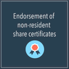Endorsement of non-resident share certificates