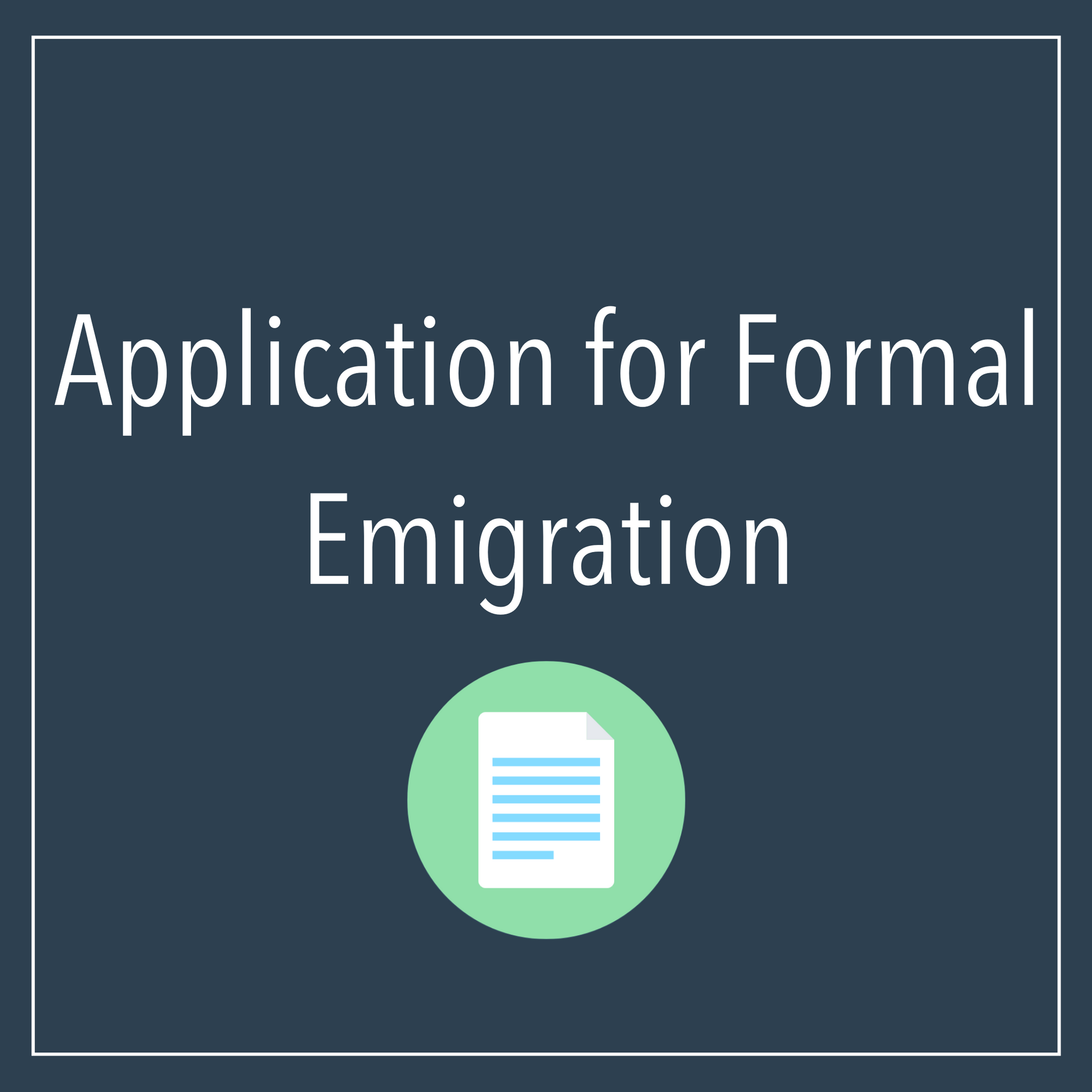 Application For Formal Emigration And Tax Clearance
