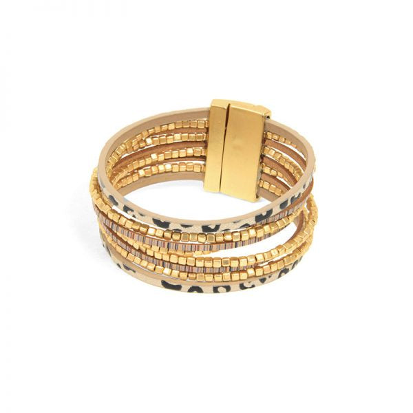 Nine Row Gold & Cheetah Bracelet