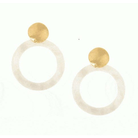 Resin Hoop Gold Post Earring - White