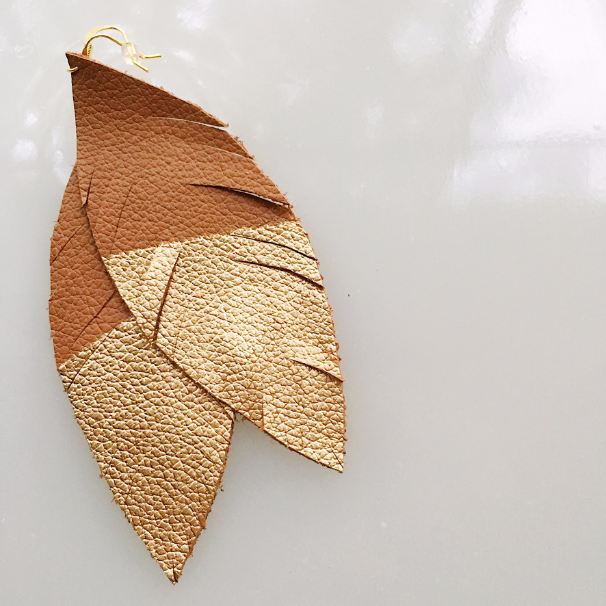 Tan and Gold Dipped Leather Feather Earring