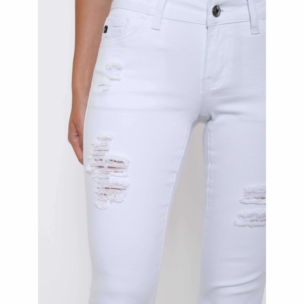 Cuffed Cropped White Skinny Jean with Distress