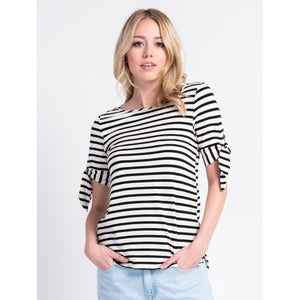 Loree Short Sleeve Striped Top with Tie