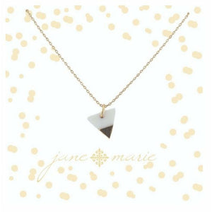 Colorblock White//Gold Triangle Necklace