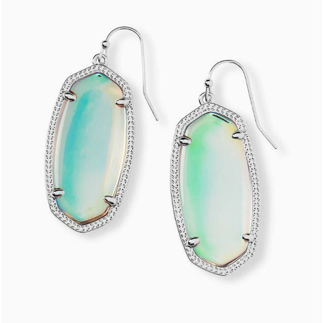 ELLE DROP EARRINGS - SILVER - DICHROIC GLASS