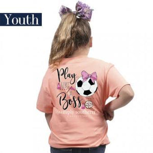 Youth Preppy Soccer (Peachy) Simply Southern Tee