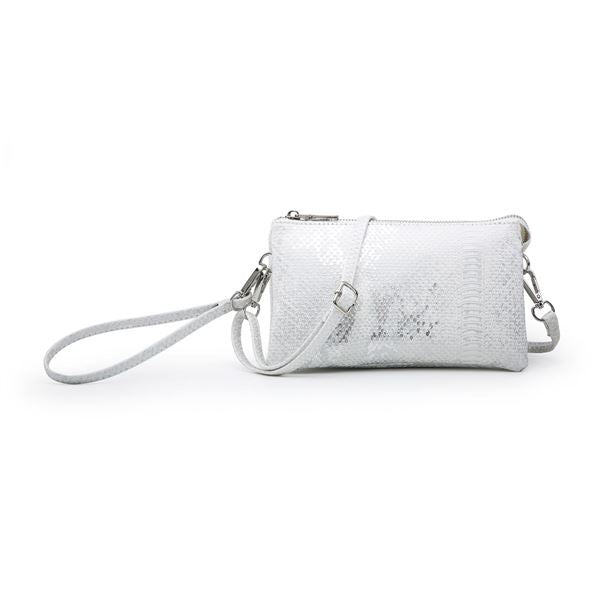 Riley Metallic Snake White/Silver Crossbody Wristlet