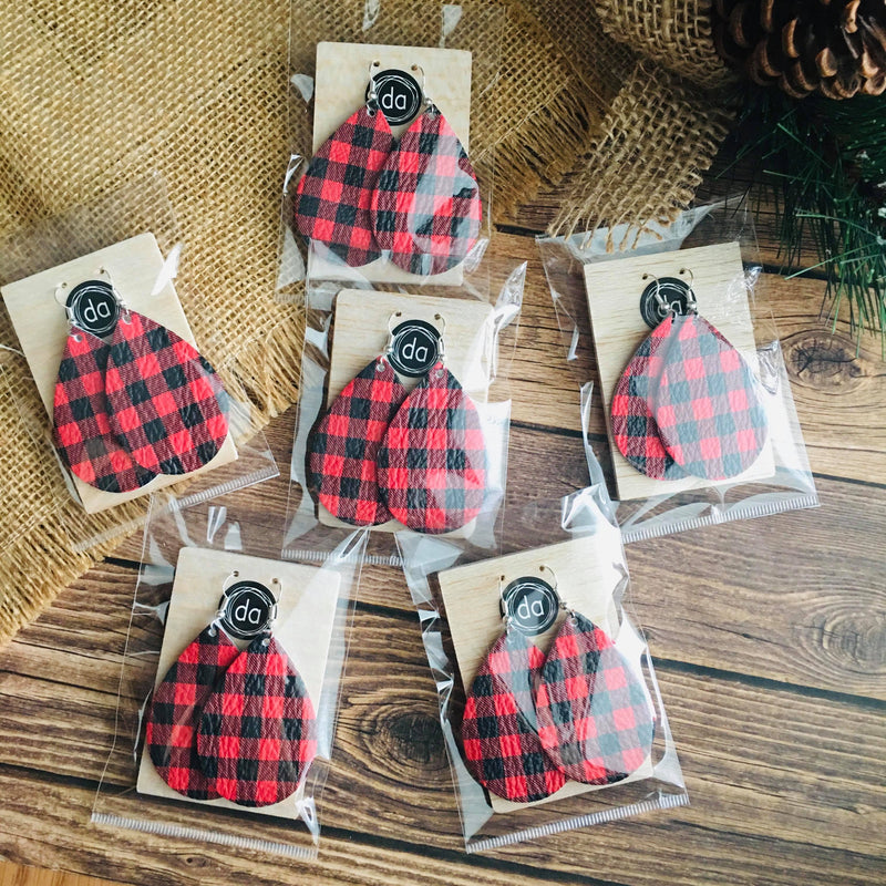 Red/Black Buffalo Plaid Leather Earrings