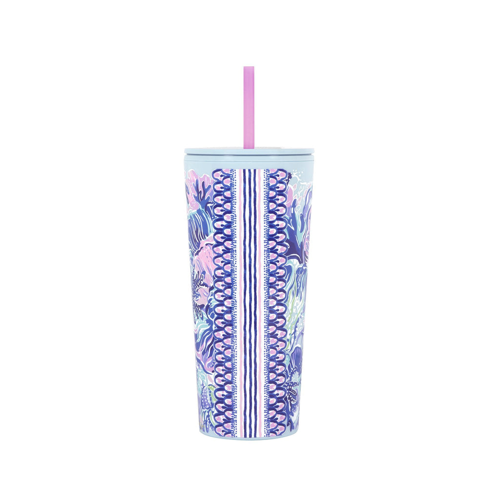 Lilly Pulitzer Tumbler with Straw - Shade Seeker