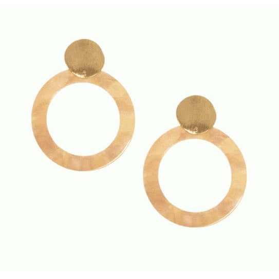 Resin Hoop Gold Post Earring - Natural