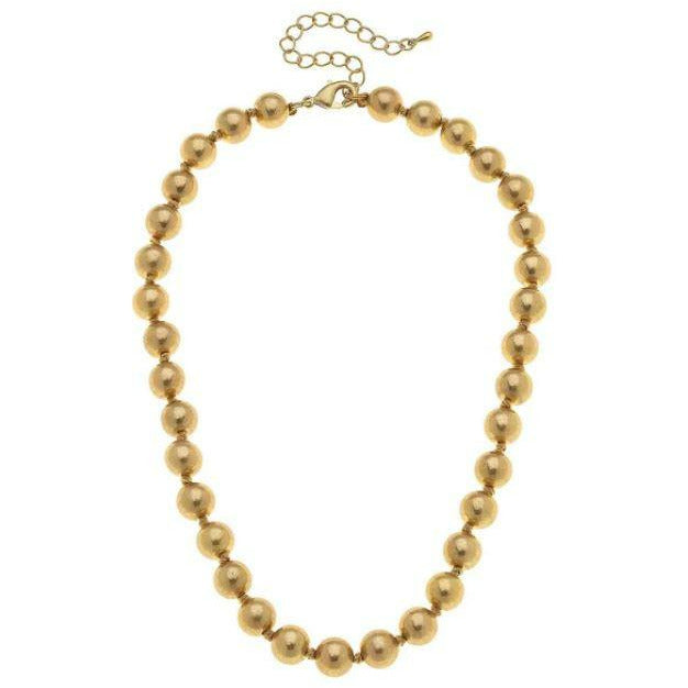 Chloe Hand-Knotted Ball Bead Necklace in Worn Gold
