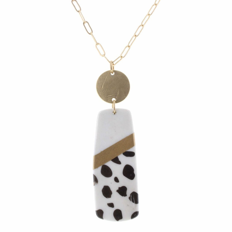 Blair Necklace - Colorblock white, gold, and leopard rectangle necklace