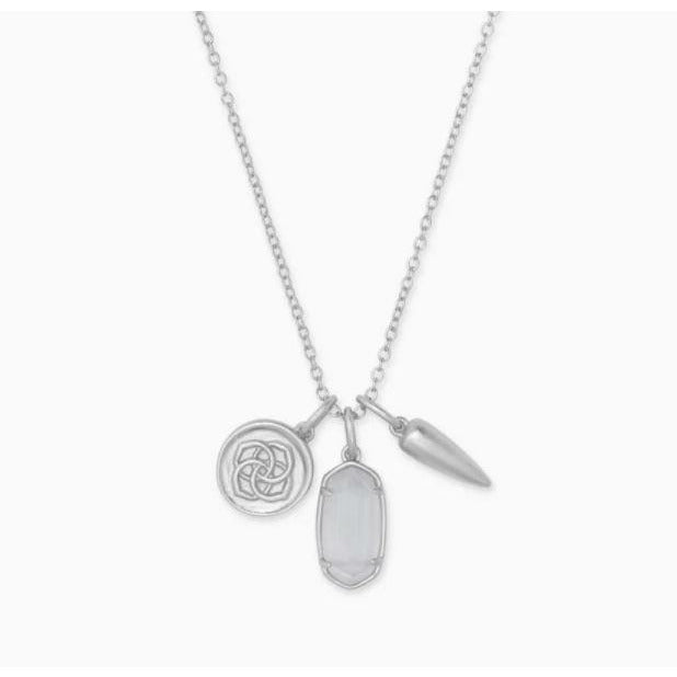 DIRA COIN CHARM NECKLACE - RHODIUM - SLATE CATS EYE