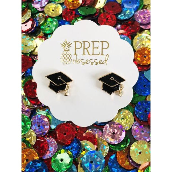 Graduation Cap Signature Enamel Studs by Prep Obsessed