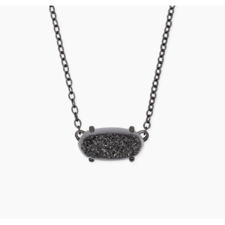 EVER PENDANT NECKLACE - GUNMETAL - BLACK DRUSY