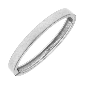 Haley Hinge Bangle in Worn Silver