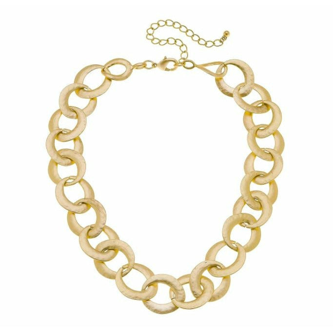 Giana Chain Link Necklace in Matte Gold