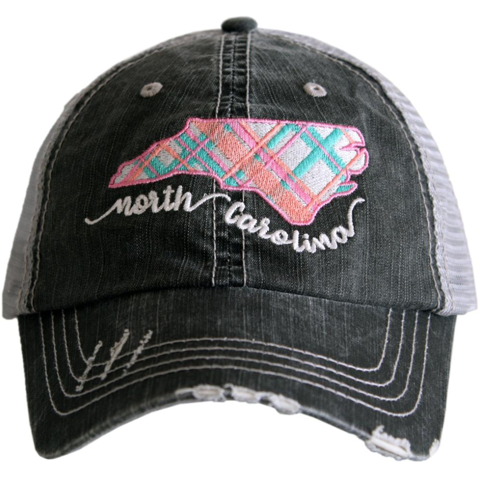 North Carolina Pastel Plaid Trucker Hat