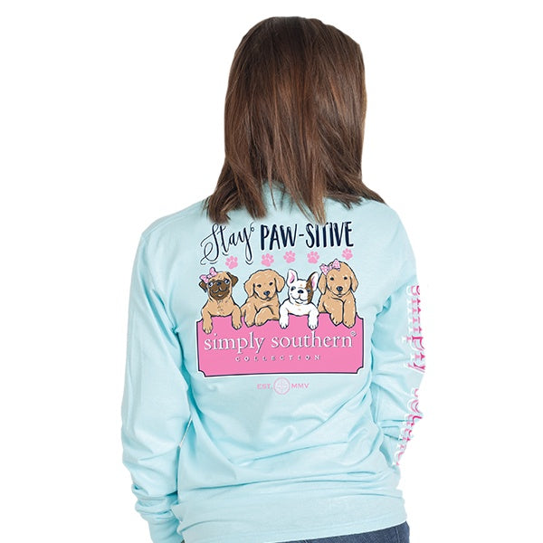Youth Pawsitive (Marine) Long Sleeve Simply Southern Tee