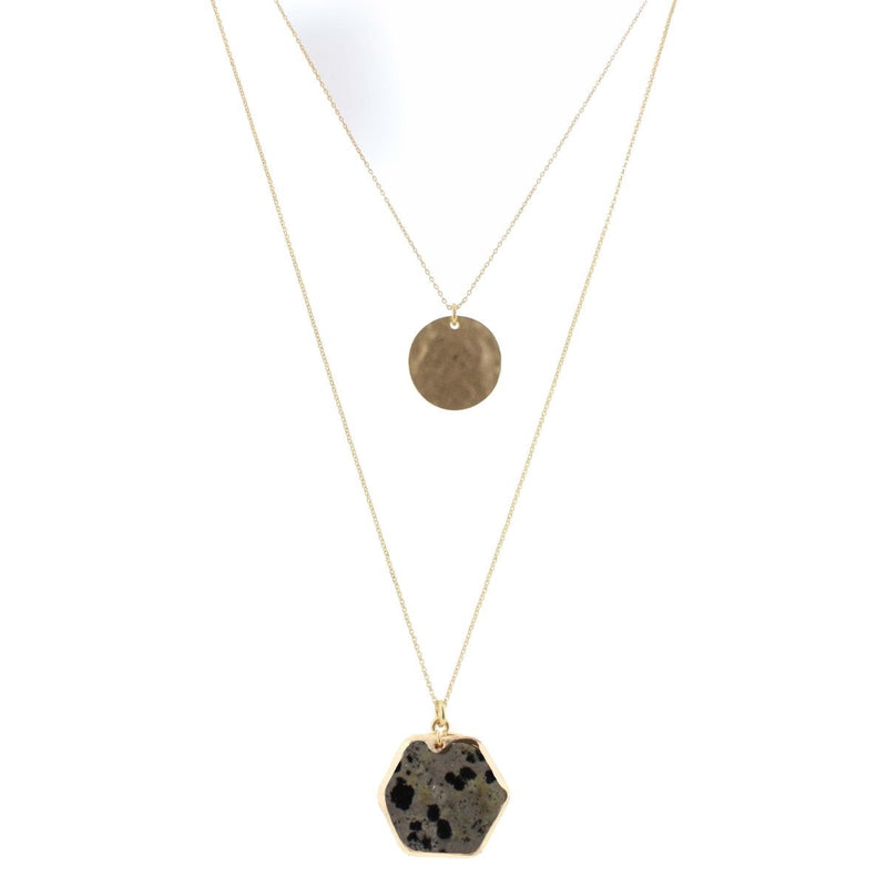 Gold Circle with Dalmatian Pendant Necklace