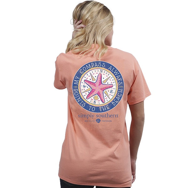 Preppy Compass (Peachy) Simply Southern Tee