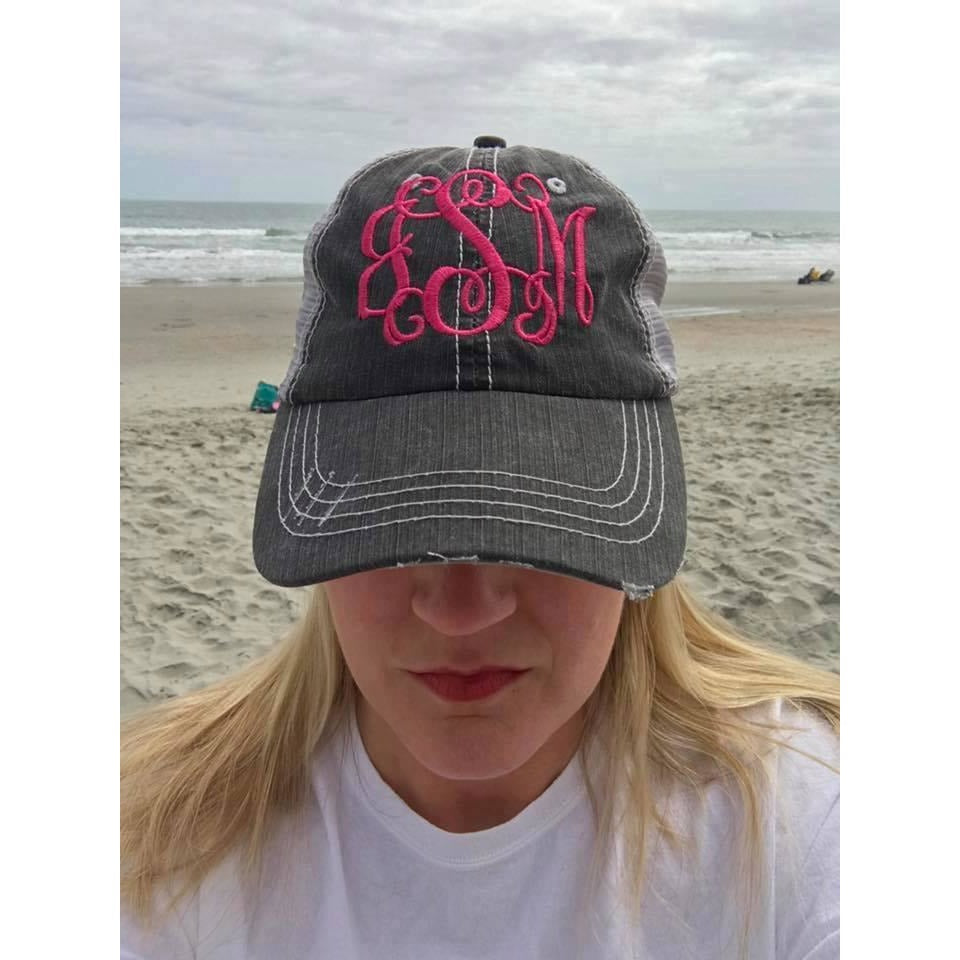 Monogrammed Distressed Trucker Hat – Bless Your Heart Monograms   Gifts 493e52f4edf