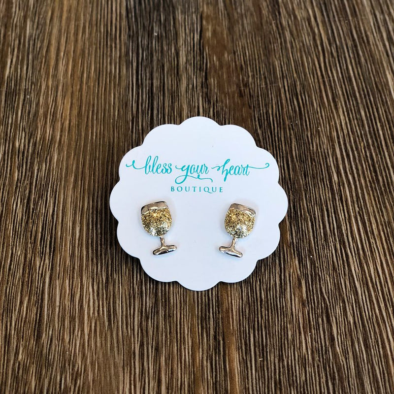 Glitter White Wine Glass Signature Enamel Stud Earring