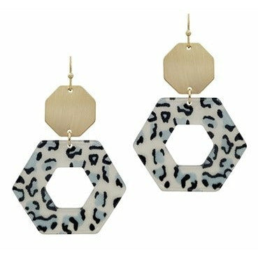 Gold Hexagon with Black/White Acrylic Earrings