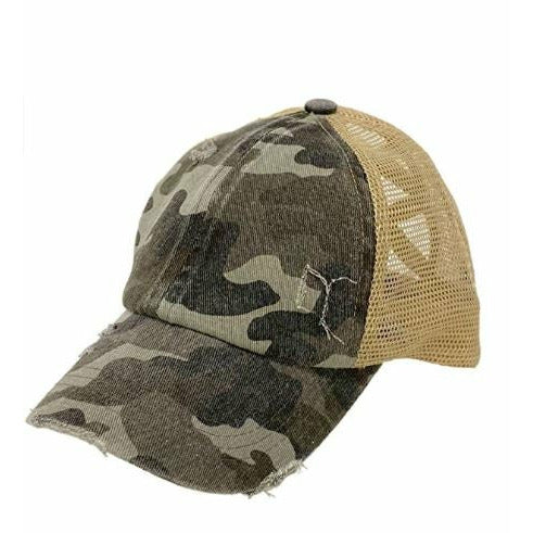 CC Denim Camo Criss Cross Pony Cap