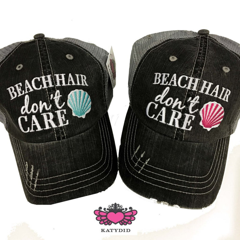 Beach Hair Don't Care With Shell Trucker Hat