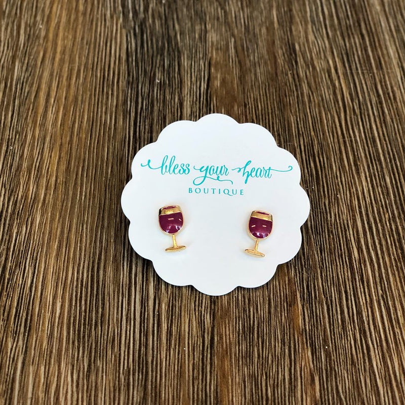 Red Wine Glass Signature Enamel Stud Earring