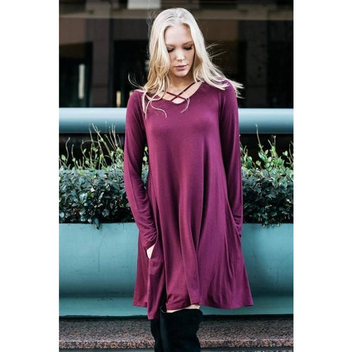 Long Sleeve Shift Dress with Criss Cross Front