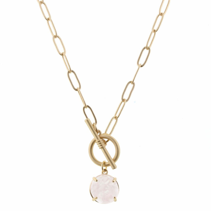 Celine Necklace - Gold Chain with Rose Quartz Circle & Toggle