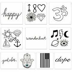 The Black and White Pack Temporary Tattoos