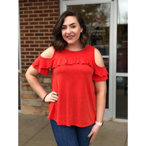 Cienna Cold Shoulder Short Sleeve Top w/ Ruffle